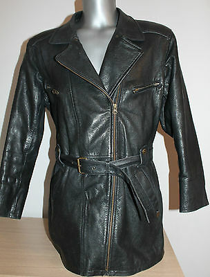 Womens MAXIN Norway Jacket Leather Vintage Coat  Cafe Racer Motorcycle Size 42