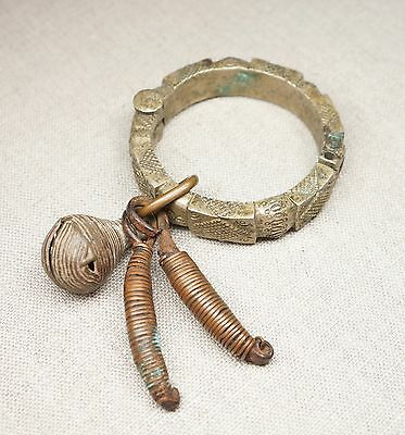Vintage African Cast Brass Bracelet Arm Band With Charms Hinged