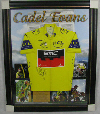 CADEL EVANS Hand Signed & Framed Cycling Jersey