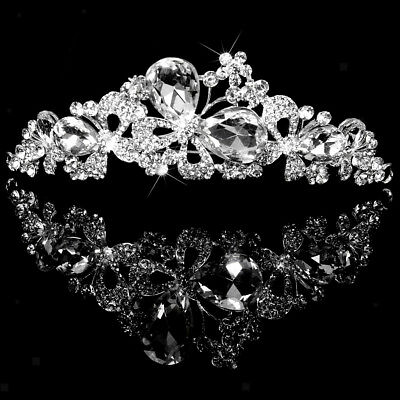Wedding Bridal Crystal Butterfly Tiara Rhinestone Crown Headband Headpiece