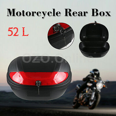 Large 52L Universal Motorcycle Scooter Top Tail Box Rear Storage Luggage 2 Keys