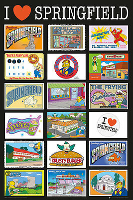 The Simpsons Postcards Springfield 91.5 X 61Cm  Poster New Official Merchandise