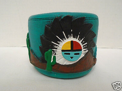 Sandy Whitefeather Native American Handmade Clay Folk Art Candle Holder