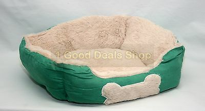 Small Luxury Washable Pet Dog Puppy Cat Bed Cushion Soft Warm Basket Green