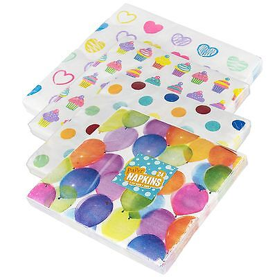 24pc Party Paper Napkins Non Toxic Printed Pattern Heart Cupcake Dot Balloon