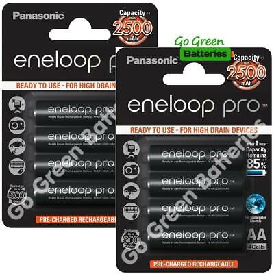 8 x Panasonic Eneloop PRO AA 2500 mAh Rechargeable Batteries Ready To Use SLIDER