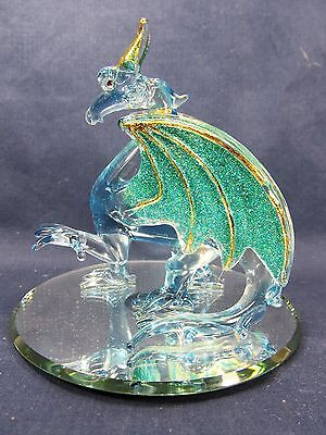 Dragon Blue w/ Sparkling Green Wing Highlighted in Gold Hand Made Glass
