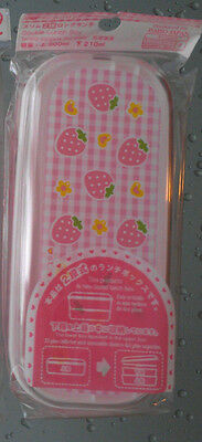 9 Bento Lunch Box (Rectangle) Strawberries w/Hearts and Flowers Designs 2 Tiers