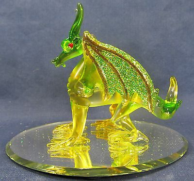 Dragon w/sparkling green wings hand blown art glass fantasy decor figurine