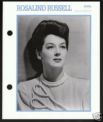 ROSALIND RUSSELL Film Movie Star Picture Biography CARD