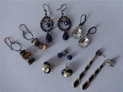 Vintage Lot Of Earrings Lapis Lazuli Garnet Gemstones Faux Pearls  Jewelry