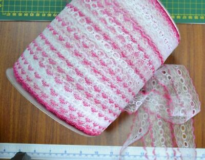 Iridescent Feather Edge Eyelet Lace, 37mm, HOT PINK WHITE, Per 10 metre length