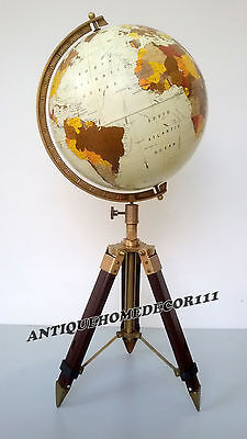 "Antique Vintage Replogle Globe 12"" World Classic Series Raised W/ Tripod Stand"