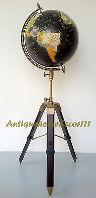 "Vintage Cram's Imperial World Map Globe 12"" Round w/ Antique Finish Tripod Stand"
