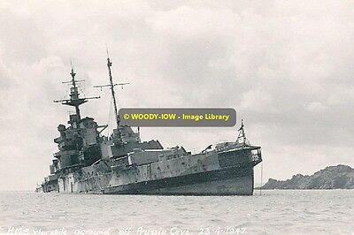rp9351 - Royal Navy Warship - HMS Warspite aground Prussia Cove - photo 6x4