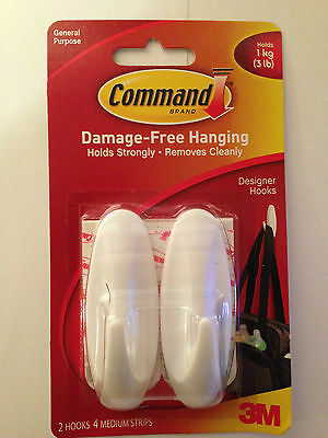 COMMAND 17081 Medium Self Adhesive Hooks With Extra Strips Holds up to 1kg
