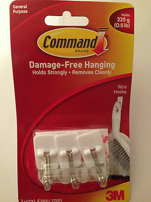COMMAND 17067 Small Self Adhesive Wire Hooks With Extra Strips Holds up to 225g