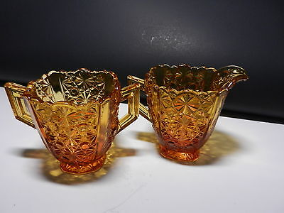 LG Wright Daisy & Button Cream Sugar Set Amber  ca 1950'-1960's