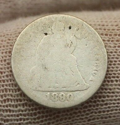 1890 SEATED LIBERTY SILVER DIME #X297 historical investment 10 cent