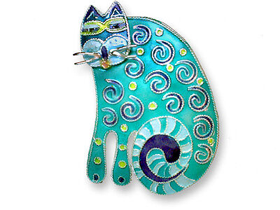 Zarah Curlicue Cat PIN Brooch Sterling Silver Hand Painted Enamel - DISCONTINUED