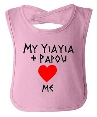 ONE Greek Infant Child Feeding Bib My Yiayia Papou Love Me See All Colors NWT