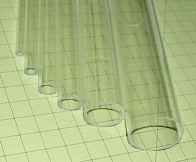 """5 PIECES CLEAR ACRYLIC PLEXIGLASS LUCITE TUBES 5/8"""" OD 3/8"""" ID x 12"""" INCH LONG"""