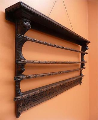 Antique RARE OAK PLATE RACK wall mount carved plate display: resawreck-antiques