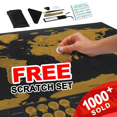 Premium Large Scratch World Map Where You Travel Poster Atlas Layer Off Gift NEW