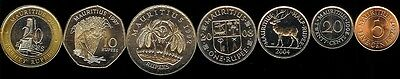 Mauritius 1992-08, 7 Pc Coin Set Km52-61 Uncirculated