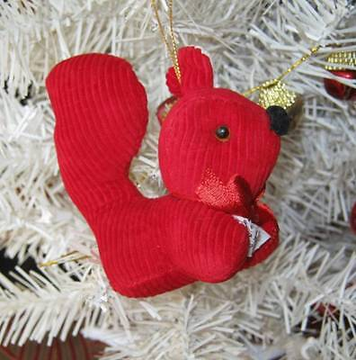 Red Corduroy Squirrel Christmas Ornament Woodland Critter Animal Holiday Decor