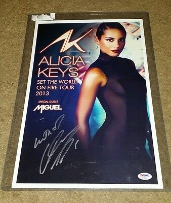 Alicia Keys Signed Set the World on Fire Tour Poster PSA/DNA w/ COA Inscribed