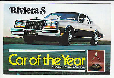 1979 BUICK RIVIERA TYPE S Motor Trend Car of the Year POSTCARD GM NOS Unused New