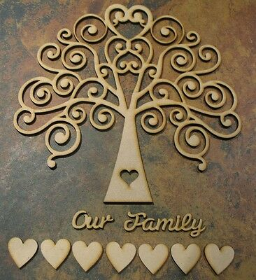Wooden MDF Tree Shape, Wedding, Family Guestbook 4mm  (INCLUDES 30mm hearts)