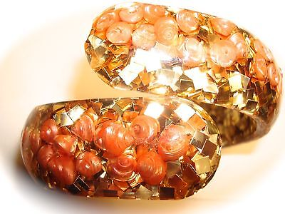 Vintage Confetti Bracelet Gold Glitter Pink Shells Clear Lucite Clamper Hinged
