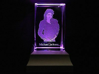 Collectable The King of Pop Laser Inscribed Crystal Light RLG17