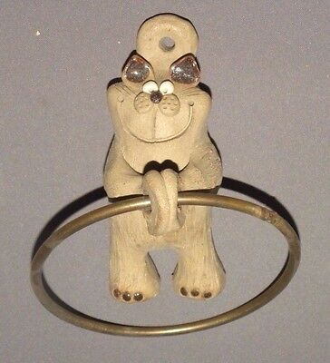 "Vintage Cat Themed Clay Door Knocker 6"" Handmade Brass"