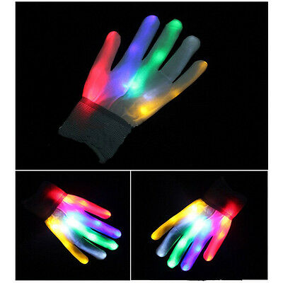 Funny Colorful Electro LED Flashing Gloves Light Up Halloween Dance Rave Party