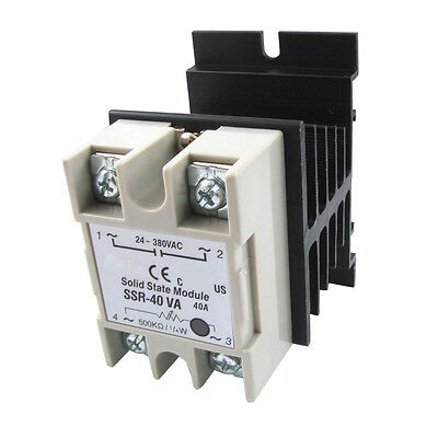 Voltage Resistance Regulator Solid State Relay SSR 40A 24-380V AC w Heat Sink DW