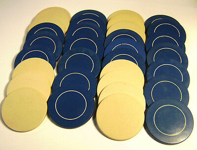 Mixed Lot 33 Antique Clay Poker Chips Carved Blue Stripe & Gray - Jewelry Making