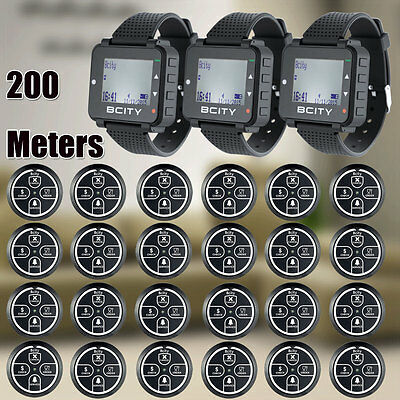650ft WIRELESS WAITER CALLING SYSTEM, FOR COFFEE SHOP,24 PAGERS AND 3 WATCHES