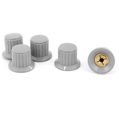 5 Pcs Volume Control Rotary Knobs For 5mm Dia Knurled Shaft Potentiometer Gray