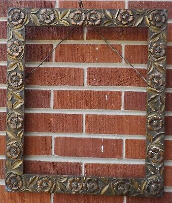 Antique Aesthetic Movement Arts Crafts Sunflowers Frame 14 X 17 In
