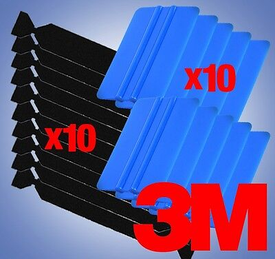 10x 3M Blue Squeegee Applicator Tool 10x Felt Edge Decal Tips Vinyl Wrap Kit Set