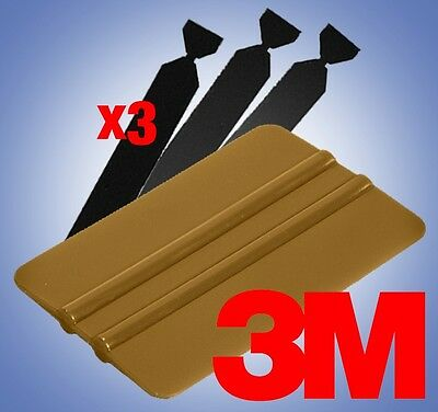 3M Gold Squeegee Applicator Tool 3x Felt Edge Decal Tips Vinyl Wrap Kit DIY Set
