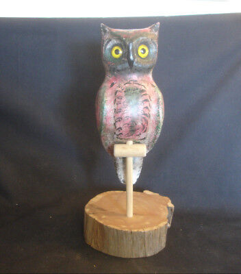 Collectible Wood Wooden Owl Figure On Tree Base Signed Henry Harvey Joseph