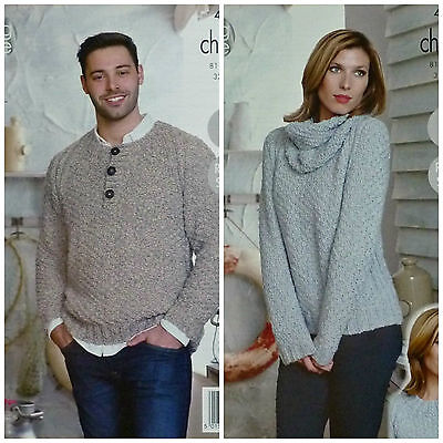 3eb1ce857 KNITTING PATTERN Mens Easy Knit Button Neck Jumper   Ladies Jumper Chunky  4510