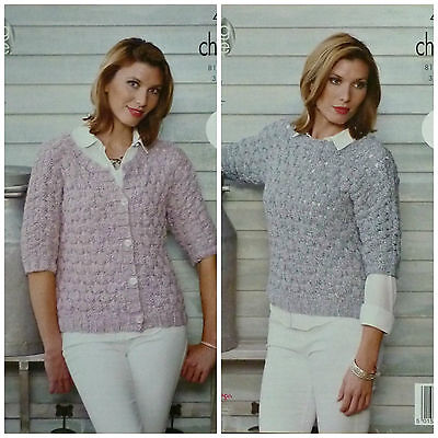 KNITTING PATTERN Ladies Easy Knit 3/4 Sleeve Cardigan & Jumper Chunky KC 4508