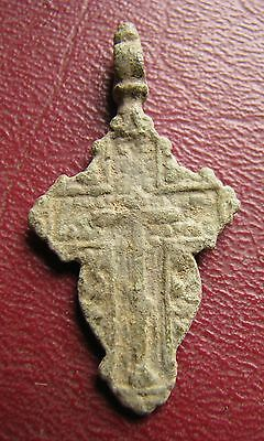 Antique Artifact > 18th-19th C Bronze Russian Orthodox Baptism Cross J15-6