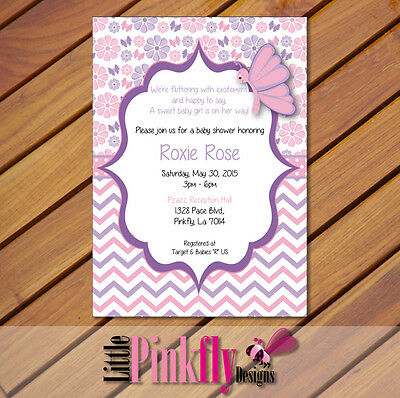 Pink and purple butterfly baby shower invitation digital file pink and purple butterfly baby shower invitation digital file invitation filmwisefo