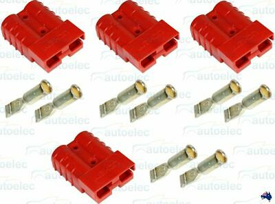 4 x ANDERSON PLUGS CONNECTOR CONNECTORS 50 AMP 50A 50AMP DUAL BATTERY 4X4 RED